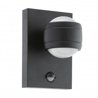 EGLO 96021 | Sesimba Eglo zidna svjetiljka sa senzorom, svjetlosni senzor - sumračni prekidač 2x LED 560lm 3000K IP44 crno, prozirna