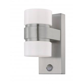 EGLO 96277 | Atollari Eglo zidna svjetiljka sa senzorom 2x LED 1000lm 3000K IP44 plemeniti čelik, čelik sivo, srebrno, bijelo