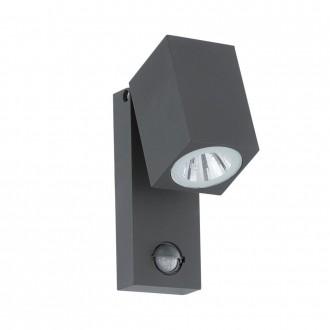 EGLO 96287 | Sakeda Eglo zidna svjetiljka sa senzorom 1x LED 650lm 3000K IP44 antracit