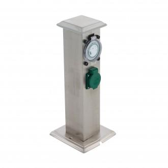 EGLO 96351 | Park-T Eglo utikačni stup pribor timer s utičnicom IP44 plemeniti čelik, čelik sivo, zeleno