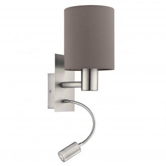 EGLO 96481 | Eglo-Pasteri-A Eglo zidna svjetiljka s prekidačem fleksibilna 1x E27 + 1x LED 380lm mat braon, bijelo, poniklano mat