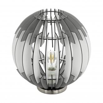 EGLO 96975 | Olmero Eglo stolna svjetiljka 31,5cm sa prekidačem na kablu 1x E27 poniklano mat, sivo, bijelo