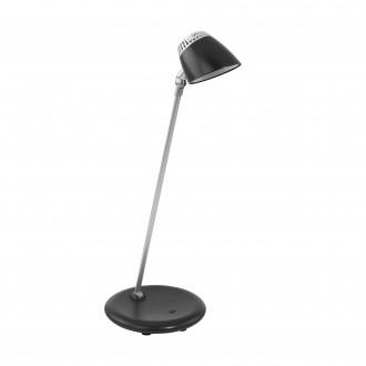 EGLO 97047 | Capuana Eglo stolna svjetiljka 40cm sa tiristorski dodirnim prekidačem elementi koji se mogu okretati, jačina svjetlosti se može podešavati 1x LED 380lm 3000K crno, srebrno