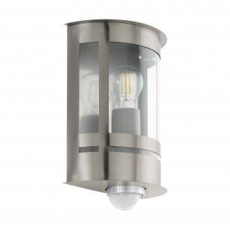 EGLO 97284 | Tribano Eglo zidna svjetiljka sa senzorom 1x E27 IP44 plemeniti čelik, čelik sivo, prozirna