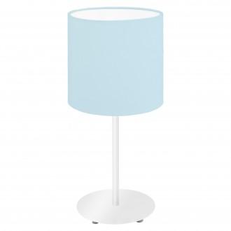 EGLO 97389 | Eglo-Pasteri-Pastel-LB Eglo stolna svjetiljka 40cm sa prekidačem na kablu 1x E14 pastel plava, bijelo