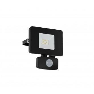 EGLO 97459 | Faedo Eglo reflektor svjetiljka sa senzorom, svjetlosni senzor - sumračni prekidač elementi koji se mogu okretati 1x LED 900lm 4000K IP44 crno, prozirna