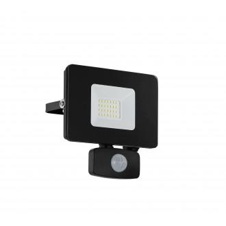 EGLO 97461 | Faedo Eglo reflektor svjetiljka sa senzorom, svjetlosni senzor - sumračni prekidač elementi koji se mogu okretati 1x LED 1800lm 4000K IP44 crno, prozirna
