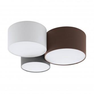 EGLO 97479 | Pastore Eglo stropne svjetiljke svjetiljka 3x E27 bijelo, smeđe, sivo
