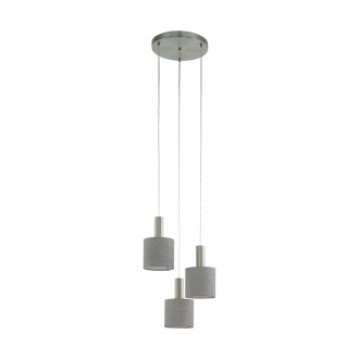 EGLO 97673 | Concessa Eglo visilice svjetiljka 3x E27 poniklano mat, sivo