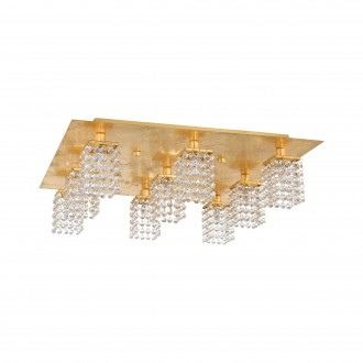 EGLO 97722 | Pyton-Gold Eglo stropne svjetiljke svjetiljka četvrtast 9x G9 3240lm 3000K zlatno, prozirno