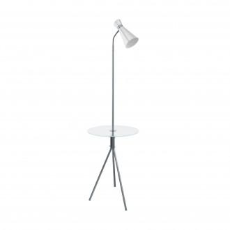 EGLO 97772 | Policara Eglo podna svjetiljka 158,5cm s prekidačem 1x E27 poniklano mat, bijelo, prozirna
