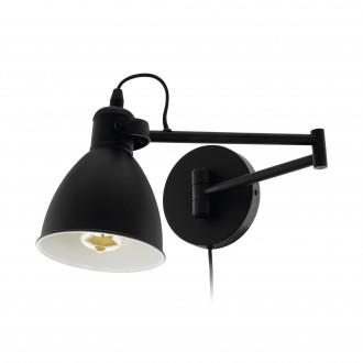EGLO 97886 | San-Peri Eglo zidna svjetiljka sa prekidačem na kablu 1x E27 crno