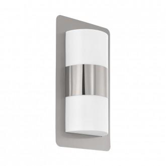 EGLO 98085 | Cistierna Eglo zidna svjetiljka 2x E27 IP44 plemeniti čelik, čelik sivo, bijelo