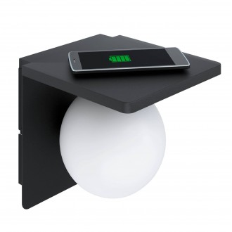 EGLO 98265 | Ciglie Eglo zidna svjetiljka sa prekidačem na kablu Qi punjač telefona, punjač mobilnog telefona (bežični) 1x E14 crno, opal