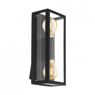 EGLO 98273   Alamonte Eglo zidna svjetiljka oblik cigle 2x E27 IP44 crno, prozirna