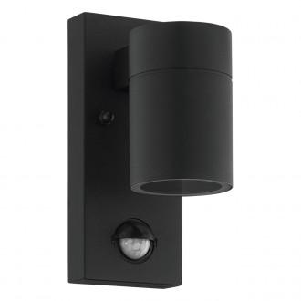 EGLO 99571   Riga-5 Eglo zidna svjetiljka cilindar sa senzorom 1x GU10 240lm 3000K IP44 crno, prozirno