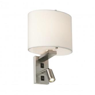 ELSTEAD BELMONT/2W | Belmont Elstead zidna svjetiljka dva prekidača 1x E14 + 1x LED 120lm satenski nikal, bijelo