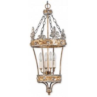 ELSTEAD FB/CROWN/P | Crown-EL Elstead visilice svjetiljka ručno bojano 4x E14 antik srebrna, zlatno