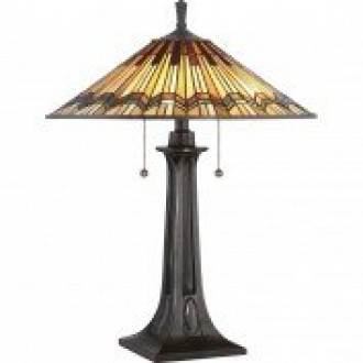 ELSTEAD QZ/ALCOTT/TL | Alcott Elstead stolna svjetiljka 63,5cm s prekidačem 2x E27 brončano smeđe, višebojno