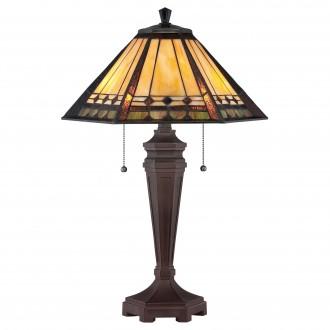 ELSTEAD QZ/ARDEN/TL | Arden Elstead stolna svjetiljka 59,7cm s prekidačem 2x E27 antik brončano, višebojno