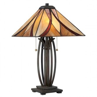 ELSTEAD QZ/ASHEVILLE/TL | Asheville Elstead stolna svjetiljka 63,5cm 2x s poteznim prekidačem 2x E27 brončano smeđe, višebojno