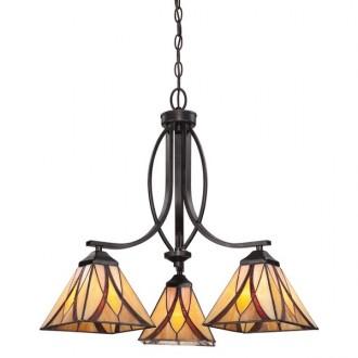 ELSTEAD QZ/ASHEVILLE3 | Asheville Elstead luster svjetiljka 3x E27 brončano smeđe, višebojno