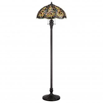 ELSTEAD QZ-BELLE-FL | Belle Elstead podna svjetiljka 148,6cm sa prekidačem na kablu ručna izrada 2x E27 brončano smeđe, višebojno