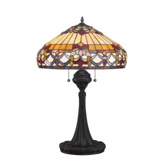 ELSTEAD QZ-BELLE-FLEUR-TL | Belle-Fleur Elstead stolna svjetiljka 68,6cm sa prekidačem na kablu ručna izrada 2x E27 brončano smeđe, višebojno
