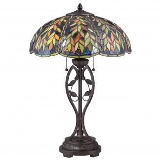 ELSTEAD QZ-BELLE-TL | Belle Elstead stolna svjetiljka 64,8cm sa prekidačem na kablu ručna izrada 2x E27 brončano smeđe, višebojno