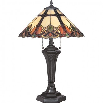 ELSTEAD QZ/CAMBRIDGE/TL | Cambridge-EL Elstead stolna svjetiljka 59,7cm s prekidačem 2x E27 brončano smeđe, višebojno