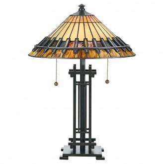 ELSTEAD QZ-CHASTAIN-TL | Chastain Elstead stolna svjetiljka 57,2cm 2x s poteznim prekidačem ručna izrada 2x E27 brončano smeđe, višebojno