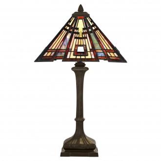 ELSTEAD QZ-CLASSIC-CRAFT-TL | Classic-Craftsman Elstead stolna svjetiljka 73,7cm s prekidačem 2x E27 brončano smeđe, višebojno