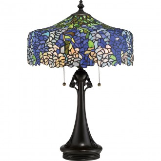 ELSTEAD QZ-COBALT-TL | Cobalt Elstead stolna svjetiljka 69cm s poteznim prekidačem 3x E27 brončano smeđe, višebojno
