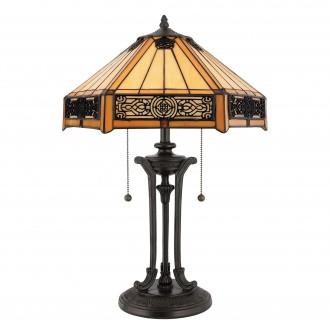 ELSTEAD QZ-INDUS-TL   Indus-EL Elstead stolna svjetiljka 58,4cm 2x s poteznim prekidačem 2x E27 brončano smeđe, višebojno