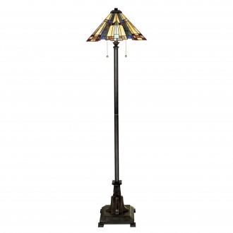 ELSTEAD QZ/INGLENOOK/FL | Inglenook Elstead podna svjetiljka 157,5cm sa prekidačem na kablu 2x E27 brončano smeđe, višebojno