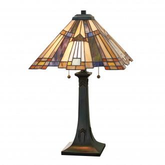 ELSTEAD QZ/INGLENOOK/TL | Inglenook Elstead stolna svjetiljka 63,5cm s prekidačem 2x E27 brončano smeđe, višebojno