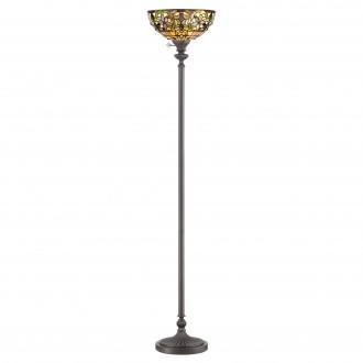ELSTEAD QZ-KAMI-UL | Kami-EL Elstead podna svjetiljka 177,8cm sa prekidačem na kablu ručna izrada 1x E27 brončano smeđe, višebojno