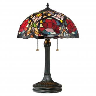 ELSTEAD QZ-LARISSA-TL | Larissa-EL Elstead stolna svjetiljka 58,4cm 2x s poteznim prekidačem ručna izrada 2x E27 brončano smeđe, višebojno