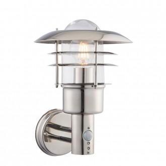 ENDON 74702 | Dexter-EN Endon zidna svjetiljka sa senzorom 1x E27 IP44 plemeniti čelik, čelik sivo, prozirno