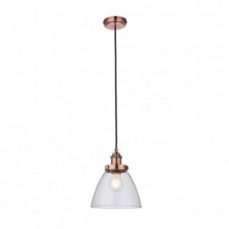 ENDON 76332 | Hansen Endon visilice svjetiljka s podešavanjem visine 1x E27 antik crveni bakar, prozirno