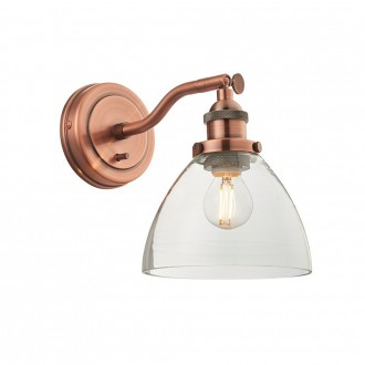 ENDON 76334 | Hansen Endon zidna svjetiljka s prekidačem 1x E14 antik crveni bakar, prozirno