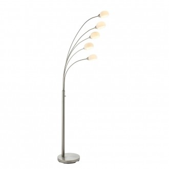 ENDON 76568 | Jaspa Endon podna svjetiljka 180cm sa tiristorskim prekidačem 5x LED 2100lm 3000K satenski nikal, bijelo