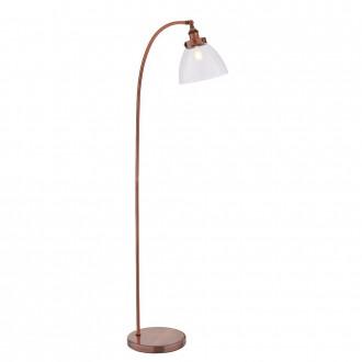 ENDON 77862 | Hansen Endon podna svjetiljka 152cm sa nožnim prekidačem 1x E27 antik crveni bakar, prozirno