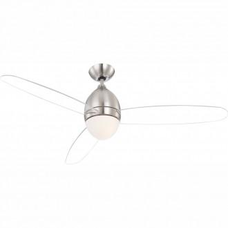 GLOBO 0302 | Premier Globo stropne svjetiljke ventilatorska lampa daljinski upravljač 2x E14 poniklano mat, bijelo, prozirno