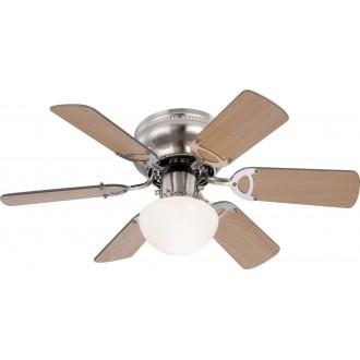 GLOBO 0307 | Ugo Globo stropne svjetiljke ventilatorska lampa s poteznim prekidačem 1x E27 poniklano mat, drvo, grafit