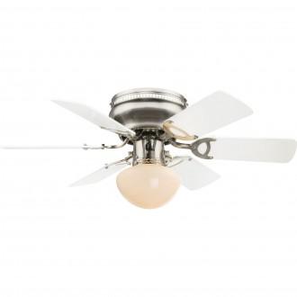 GLOBO 0307W | Ugo Globo stropne svjetiljke ventilatorska lampa s poteznim prekidačem 1x E27 poniklano mat, grafit, bijelo