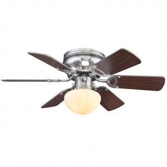 GLOBO 0307WE | Ugo Globo stropne svjetiljke ventilatorska lampa s poteznim prekidačem 1x E27 poniklano mat, venga, sivo
