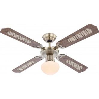 GLOBO 0309 | Champion Globo stropne svjetiljke ventilatorska lampa s poteznim prekidačem 1x E27 antik bakar, boja hrasta, trska