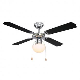 GLOBO 0309CSW | Champion Globo stropne svjetiljke ventilatorska lampa s poteznim prekidačem 1x E27 krom, crno, bijelo