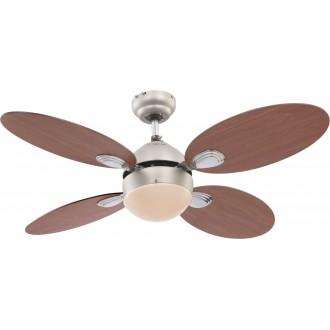 GLOBO 0318 | Wade Globo stropne svjetiljke ventilatorska lampa s poteznim prekidačem 1x E14 poniklano mat, trešnja, boja oraha